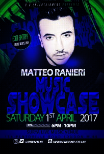 Matteo Ranieri Music showcase Flyer ACts